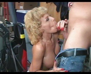 Blonde mature milf in white stockings fucks younger guy