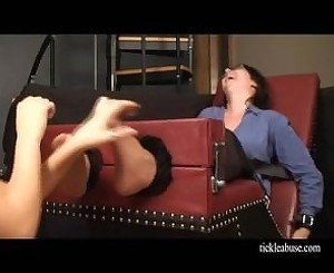 Hot MILF in Glasses Nylon Feet Tickled in Stocks!