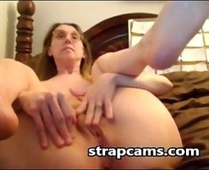 Blonde granny Fingering hairy Pussy