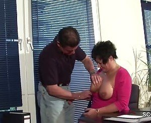 MILF Mother with Big Tits in Lingerie fuck in Office on Work