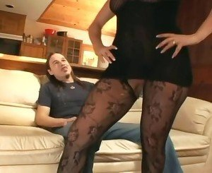 Pantyhose face sitting and oral sex