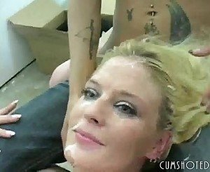 MILF Blonde Whore Covered In Cum