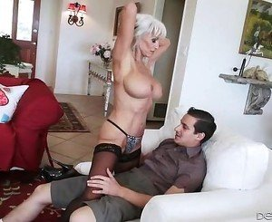 Sexually loveful blond woman with big tits