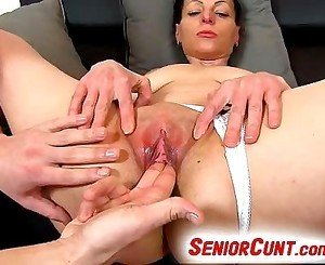 Up close pussy play with hot euro milf Renate