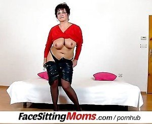 Big tits lady Greta stockings and facesitting
