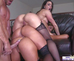 Lucky man Johnny Sins gives her babes an intense group fuck