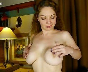 Hot American housewife showing off her perky tits