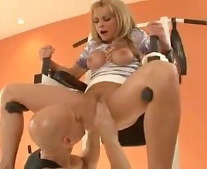 Blonde woman with her trainer