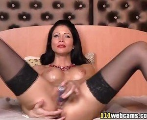 Nice camgirl masturbates by dildo on webcam