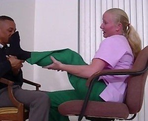 Mature lady doctor foot smelling therapy