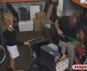 Hot blonde milf pounded in storage room