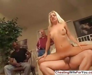 Cuckold wife gets warm jizz