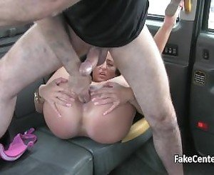 Brunette milf creampied in taxi