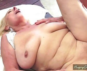 Blonde Granny Gives Poolside Blowjob