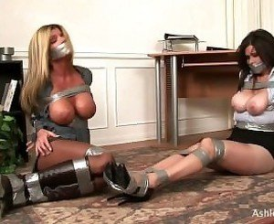 Two MILFS Tape Gagged & Bound Bondage