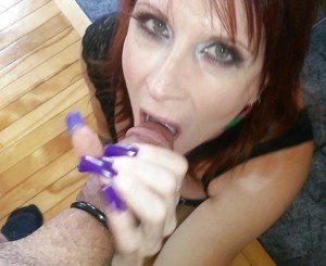 Sable Bordeaux long nails Blowjob