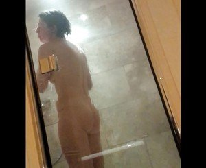 wife&#039,s routine part 3 -rest of shower, bend for camera