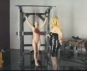 Dirty blonde with great ass gets donminated and spanked by a bleached blonde
