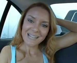 Amazing Redhead Milf Fucked on the Backseat