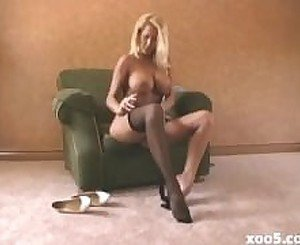 Sweet sexy blonde in pantyhose