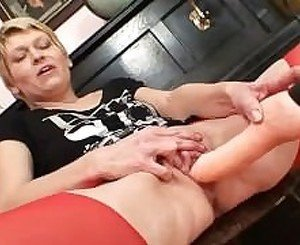 Blonde Lilith Lee pulling and spreading pussy lips