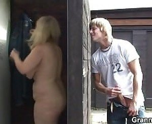 Blonde granny gets fucked by a stranger