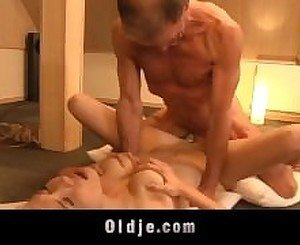Lonely blonde fucks two old man