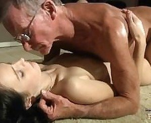 Horny young girl eagers for old cock