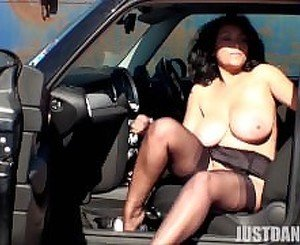 Sexy Danica in a Parking Lot